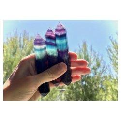 Fluorite bleue et violette biterminée