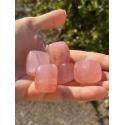 Cube en quartz rose poli